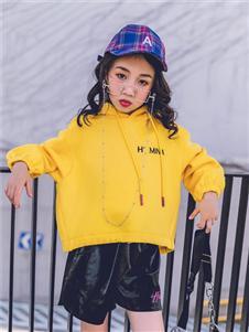 韩米娜秋冬新款灯笼袖蝙蝠袖连帽卫衣