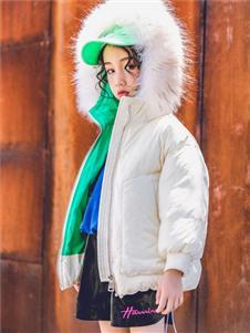 韩米娜秋冬气质个性大毛领羽绒服