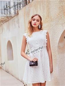 曼秀缤纷女装白色无袖连衣裙
