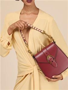 爱格纳酒红色手提包