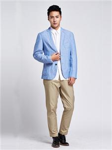 马威男装天蓝色西装外套