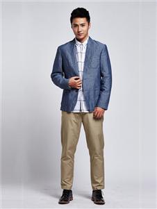 马威男装灰蓝色西装外套