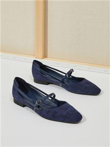 西遇女鞋藏青色浅口平底鞋