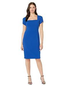 安妮克莱因宝蓝色连衣裙