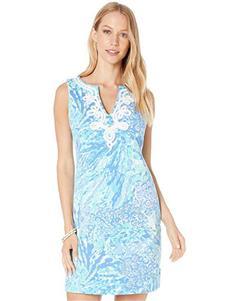 安妮克莱因蓝色修身连衣裙