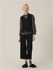 茶愫女装新款黑色九分裤