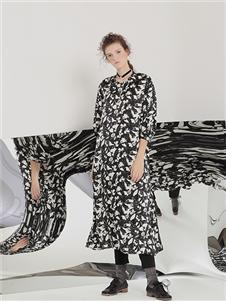 茶愫女装新款黑白纱裙