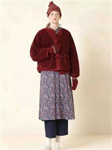 茶愫女装新款红色外套