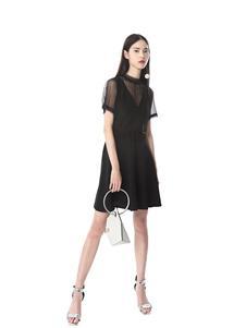 光线花园女装黑色蕾丝连衣裙