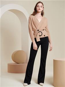 贝加尔女装黑色修身长裤