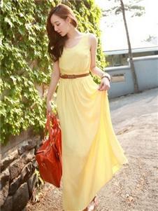 衣佳人女装黄色无袖连衣裙