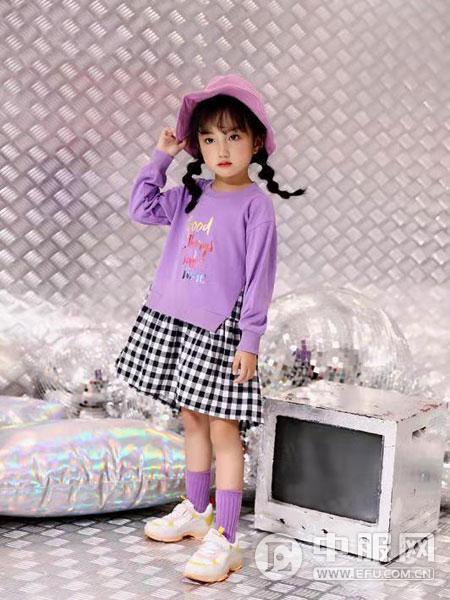 叮当猫潮童童装2019秋冬款紫色拼接连衣裙