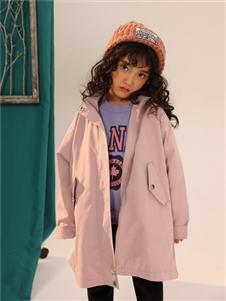叽叽哇哇童装韩版洋气中长款连帽风衣外套