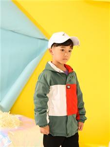 叽叽哇哇童装多色撞色拼接水洗连帽夹克外套