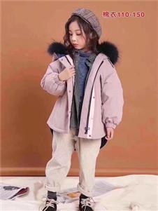 小嗨皮童装时尚毛领粉色外套