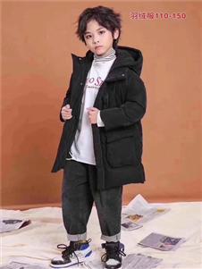 小嗨皮童装黑色中长款羽绒衣
