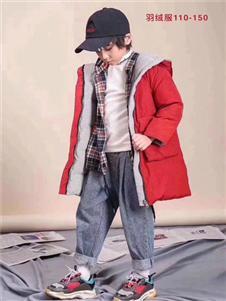 小嗨皮童装红色中长款羽绒衣