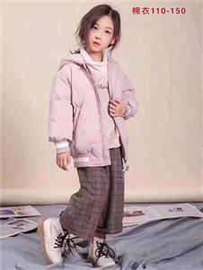 小嗨皮童装粉色保暖加厚羽绒服