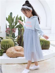 欧米源童装甜美宽松中长款t恤裙