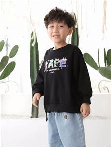 欧米源童装韩版潮牌迷彩运动上衣
