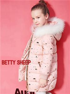贝蒂小羊童装贝蒂小羊童装2019秋冬款粉色毛领轻薄保暖羽绒服