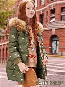 贝蒂小羊童装贝蒂小羊童装2019秋冬款绿色轻薄保暖羽绒服