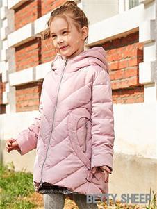 贝蒂小羊童装贝蒂小羊童装2019秋冬款中长款粉色轻薄保暖羽绒服