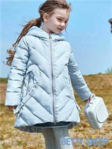 贝蒂小羊童装贝蒂小羊童装2019秋冬款蓝色轻薄保暖羽绒服