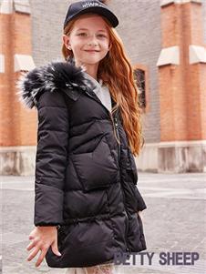 贝蒂小羊童装贝蒂小羊童装2019秋冬款黑色轻薄保暖羽绒服