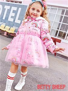 贝蒂小羊童装贝蒂小羊童装2019秋冬款粉色轻薄保暖羽绒服