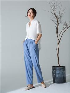MOKOO秋冬新款蓝色女裤