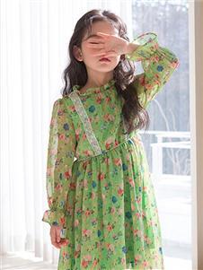 唯心至愛童裝2019秋冬款綠色連衣裙