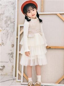 叮当猫潮童童装2019秋冬款白色甜美连衣裙