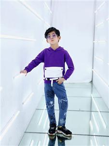 叮当猫潮童童装2019秋冬款紫色卫衣