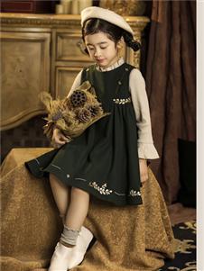 DHAiii.kids童裝2019秋冬款復古綠色連衣裙