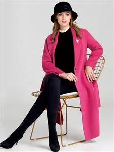 DISIR迪丝爱尔时尚气质粉色大衣