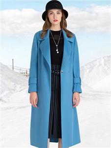 迪丝爱尔女装DISIR迪丝爱尔蓝色时尚大衣
