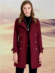 迪丝爱尔女装DISIR迪丝爱尔酒红色大衣