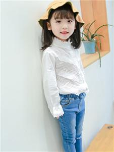 童話印記TONGHUAYINJI童裝2019秋冬款白色襯衣