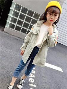童話印記TONGHUAYINJI童裝2019秋冬款米色風衣