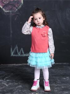 威斯米童装2019新款蓝色公主裙