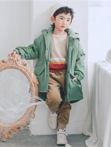 卡琪屋童装2019新款绿色加厚中长款外套