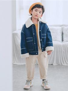 卡琪屋童装2019新款牛仔加绒外套