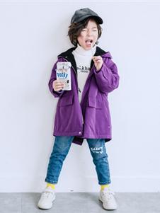 卡琪屋童装2019新款紫色外套