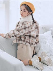 卡琪屋童装2019新款格子外套