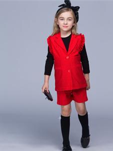 瓢虫之家童装2019新款红色套装