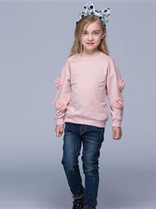 瓢虫之家童装2019新款粉色打底衫