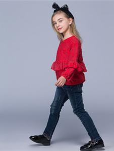瓢虫之家童装2019新款红色上衣