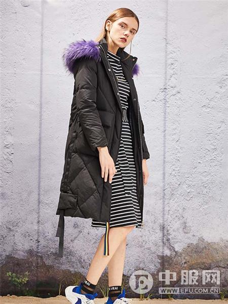 YOSUM2019新款黑色长款羽绒衣