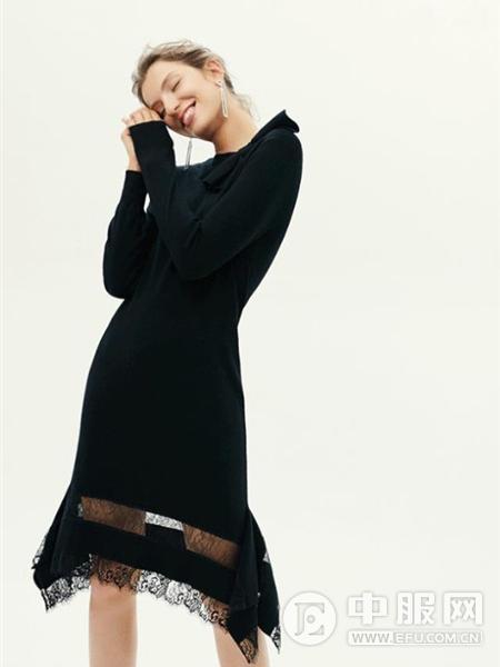 红贝缇女装2019黑色长袖连衣裙